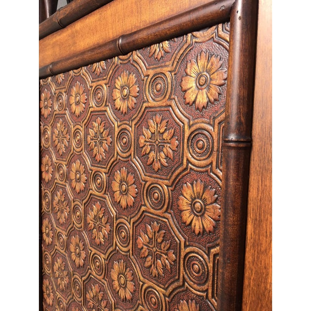 Arts and Crafts Victorian Faux Bamboo Tile Mosaic Room Divider Privacy Screen For Sale - Image 9 of 11