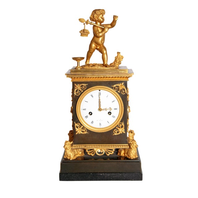 Early 19th Century French Clock With Putto For Sale