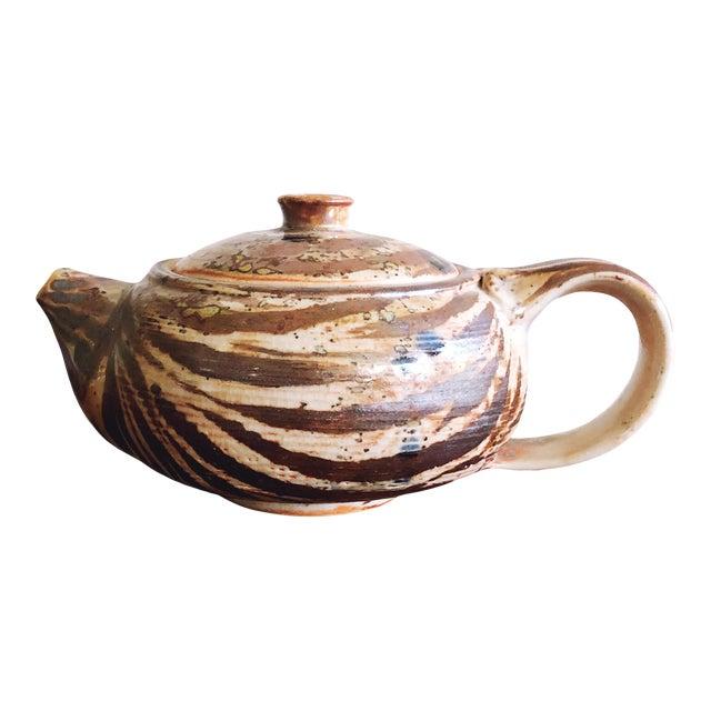 Vintage Japanese Studio Pottery Stoneware Teapot For Sale