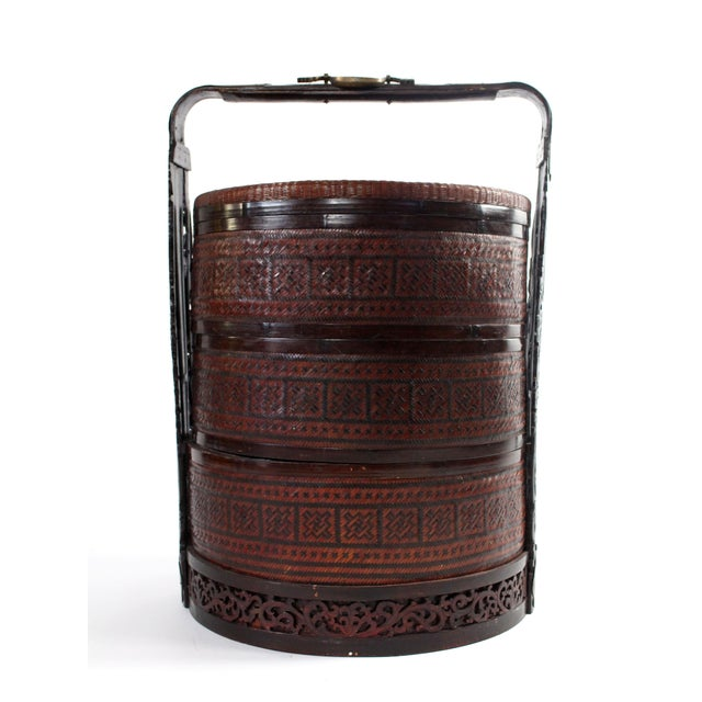 Very large three-tiered 19th century woven reed, rattan, carved rosewood and brass wedding basket. Classic handwoven...