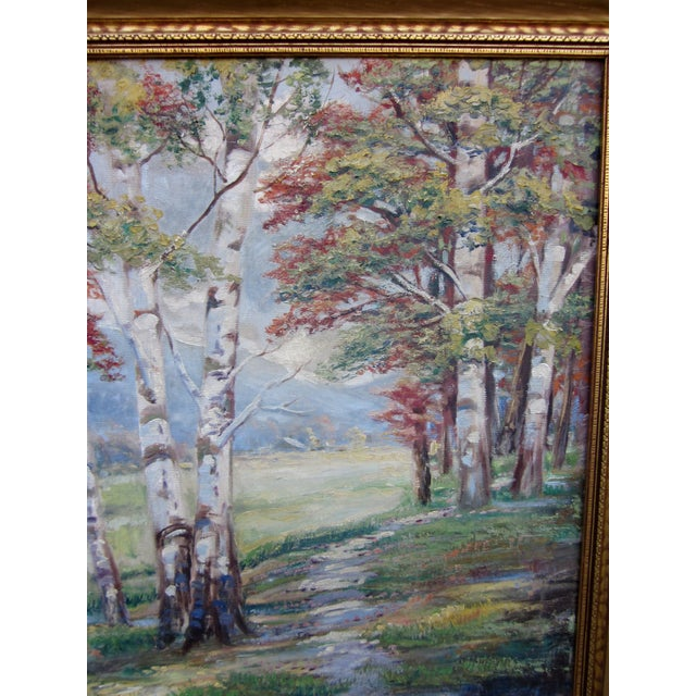 Canvas Vintage 1930-1940s Wallace Howard Signed Birch Forest Landscape Oil Painting on Canvas For Sale - Image 7 of 11