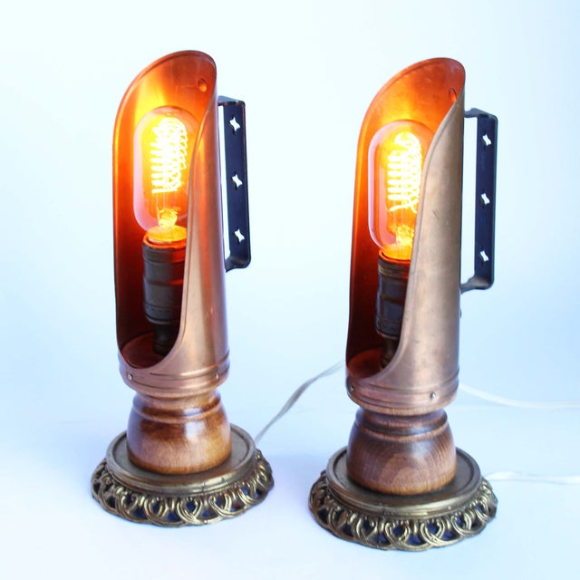 Vintage Copper Candleholder Lamps - A Pair - Image 6 of 6