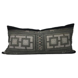 """Petra"" 14x30 Extra Long Lumbar, Vintage Boho Tribal Textile & Black Velvet Pillow Cover For Sale"