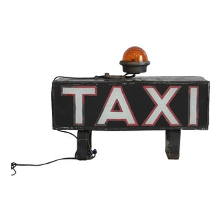 "Early 20th C. Vintage Light Up ""TAXI"" Sign For Sale"