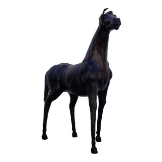 1940s Vintage French Leather Horse Sculpture For Sale