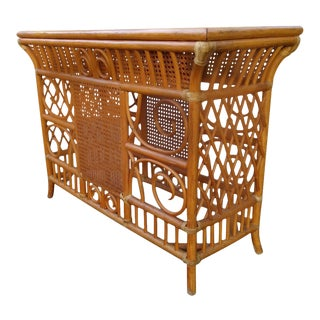 Vintage Bamboo Entrance Table For Sale