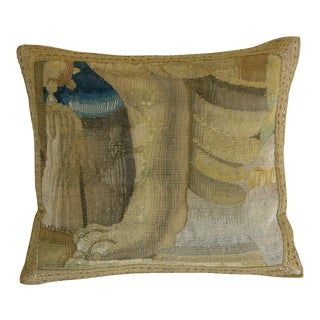 16th Century Antique Brusslls Baroque Tapestry Pillow - 17'' X 16'' For Sale