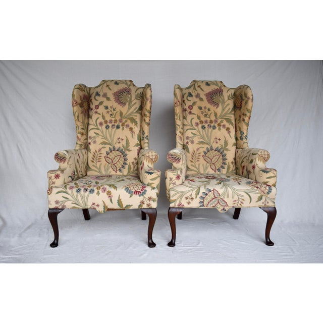 English Queen Anne Style High Back Library Wingchair, Circa 1910 For Sale - Image 12 of 13