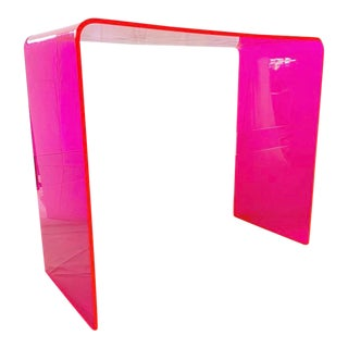 """Custom """"The Tall Order"""" Console Table in Neon Pink For Sale"""