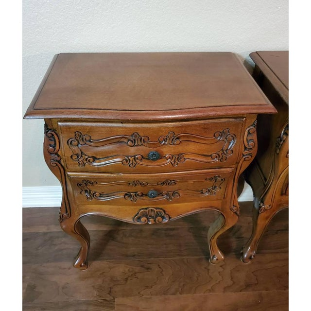 French Italian Louis XV Style Carved Walnut Bedside Tables - a Pair For Sale - Image 3 of 11