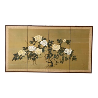 Vintage Chinoiserie Hand Painted Folding Silk Screen For Sale