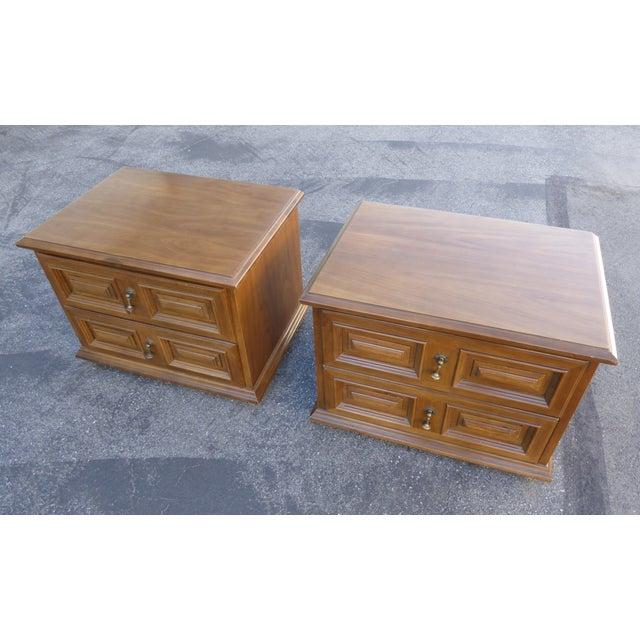 Mid Century Modern Drexel Two Drawer Solid Wood Nightstands - a Pair - Image 5 of 11