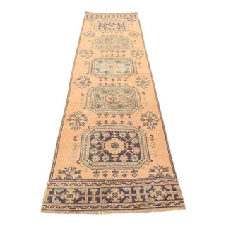 1970s Vintage Turkish Oushak Runner Rug - 3′ × 11′1″ For Sale