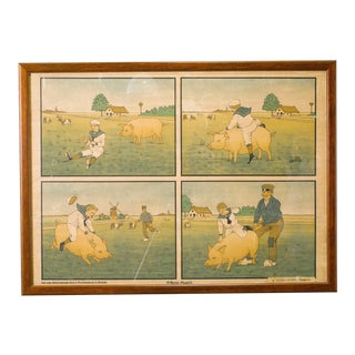 Assorted Collection of Five Framed Belgian Children's School Charts, circa 1900s For Sale