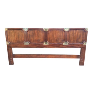 1970s Henredon Chinoiserie Campaign King Size Mahogany Headboard For Sale