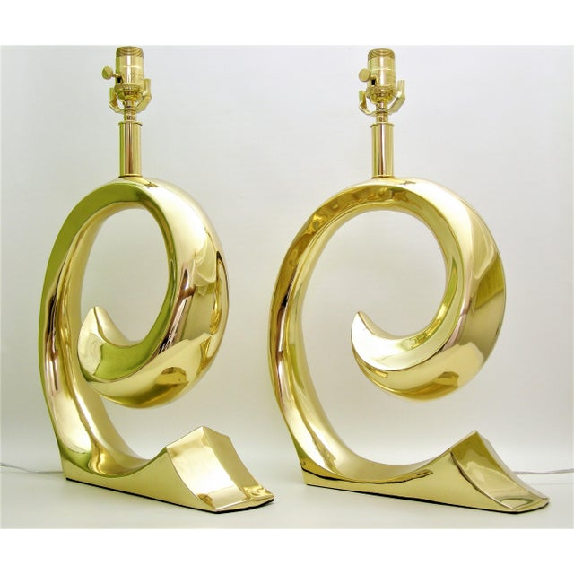 Restored Pierre Cardin Mid-Century Modern Solid Brass Logo Designer Lamps - a Pair Millennial - Image 4 of 11