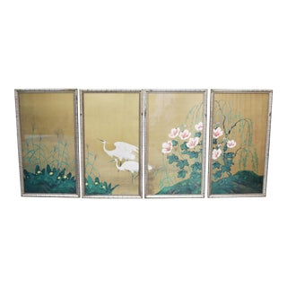 Vintage Chinoiserie Bamboo Framed Heron, Willow and Flowers Tetraptych - Set of 4 For Sale