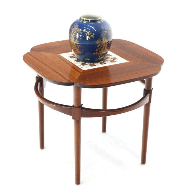 Pair of Clover Shape Tile and Walnut Top Round End Side Occasional Tables For Sale - Image 6 of 13