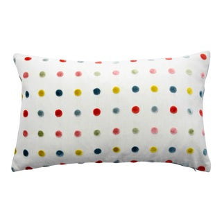 FirmaMenta Italian Multicolor Polka Dot Chartreuse/Coral Velvet Lumbar Pillow For Sale