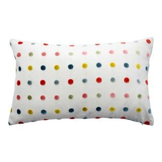 FirmaMenta Italian Multicolor Polka Dot Chartreuse/Coral/Pale Blue Velvet Lumbar Pillow For Sale