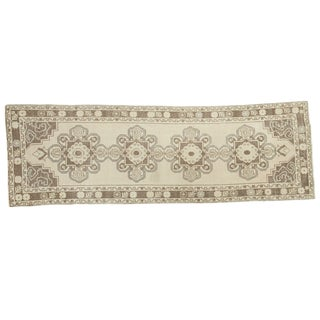 "Vintage Oushak Distressed Rug - 3'2"" X 9'7"" For Sale"