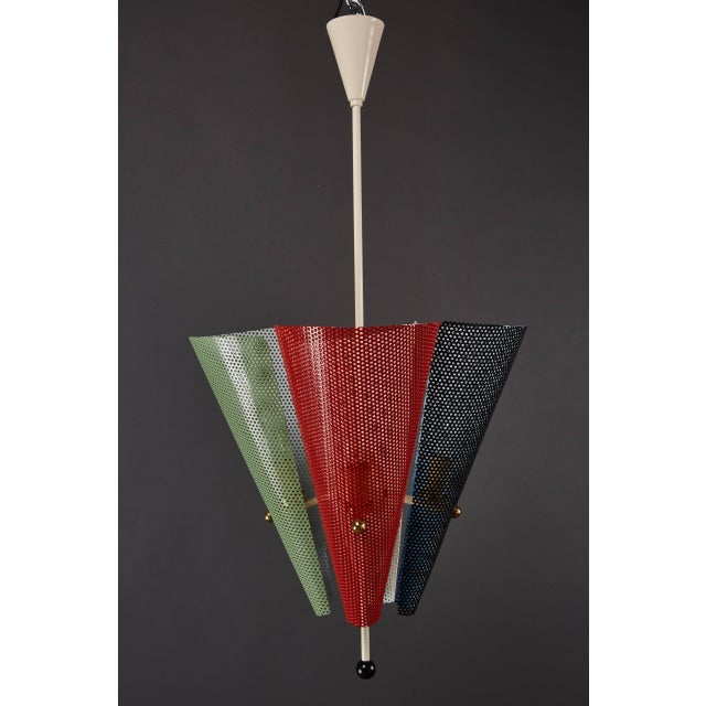 French French Perforated Metal Ceiling Pendant Attributed to Mathieu Mategot For Sale - Image 3 of 9