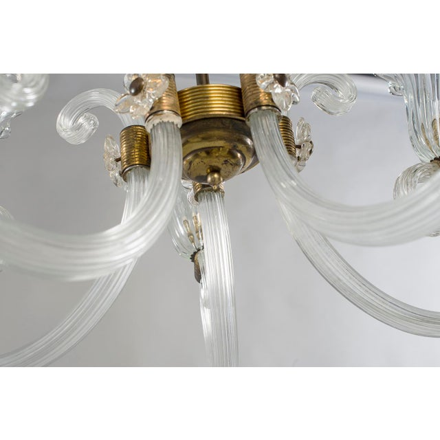 Ercole Barovier Art Deco Clear Blown Glass Chandelier With Brass Fittings For Sale In Detroit - Image 6 of 8