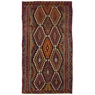 Vintage Turkish Eye Dazzler Kilim | 6 X 11 Vinage Esme Kilim For Sale