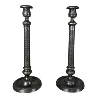 Antique Pewter Candlesticks - a Pair