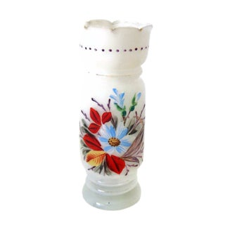 1920s Vintage Hand Painted Floral Glass Vase
