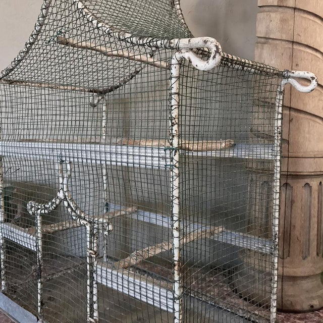 19th Century French Painted Wire Pagoda Birdcage For Sale - Image 4 of 13