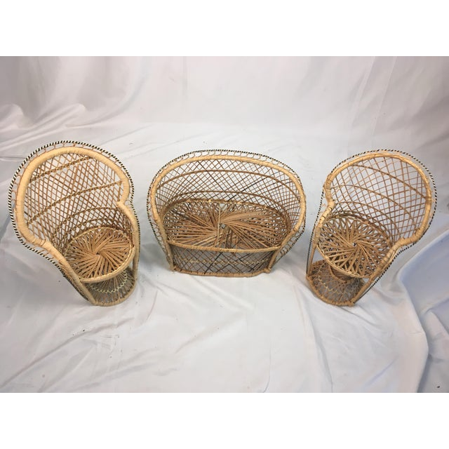Miniature Rattan Furniture - Set of 3 For Sale - Image 4 of 6