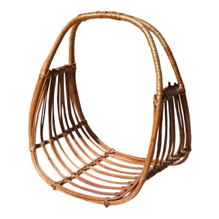 In the Style of Franco Albini Italian Mid-Century Modern Magazine Rack Holder Basket For Sale