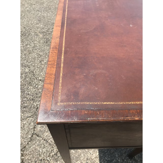 Mid 20th Century Barrel Back Walnut Desk With Leather Top Made by Baker Furniture For Sale - Image 5 of 11