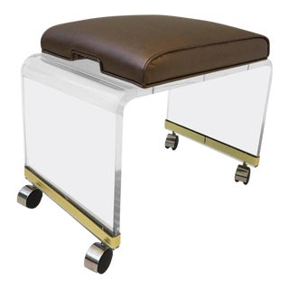 Acrylic Waterfall Vanity Stool on Casters by Hill Manufacturing Corp For Sale