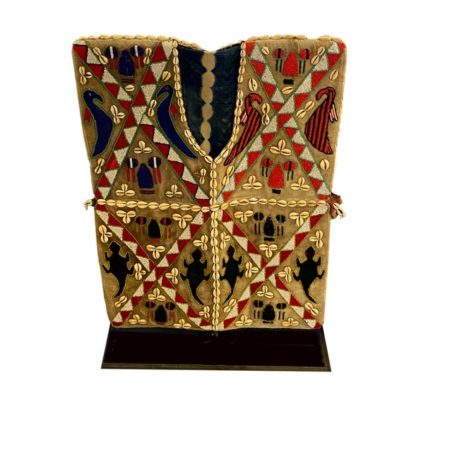 Mens African Beaded Vest on Iron Stand For Sale In Dallas - Image 6 of 6