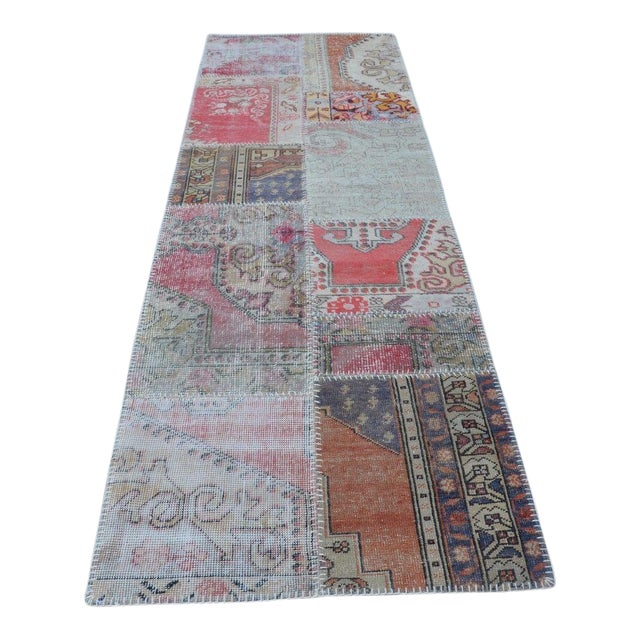 Turkish Hanmade Patchwork Runner Carpet - 2′11″ × 9′3″ For Sale