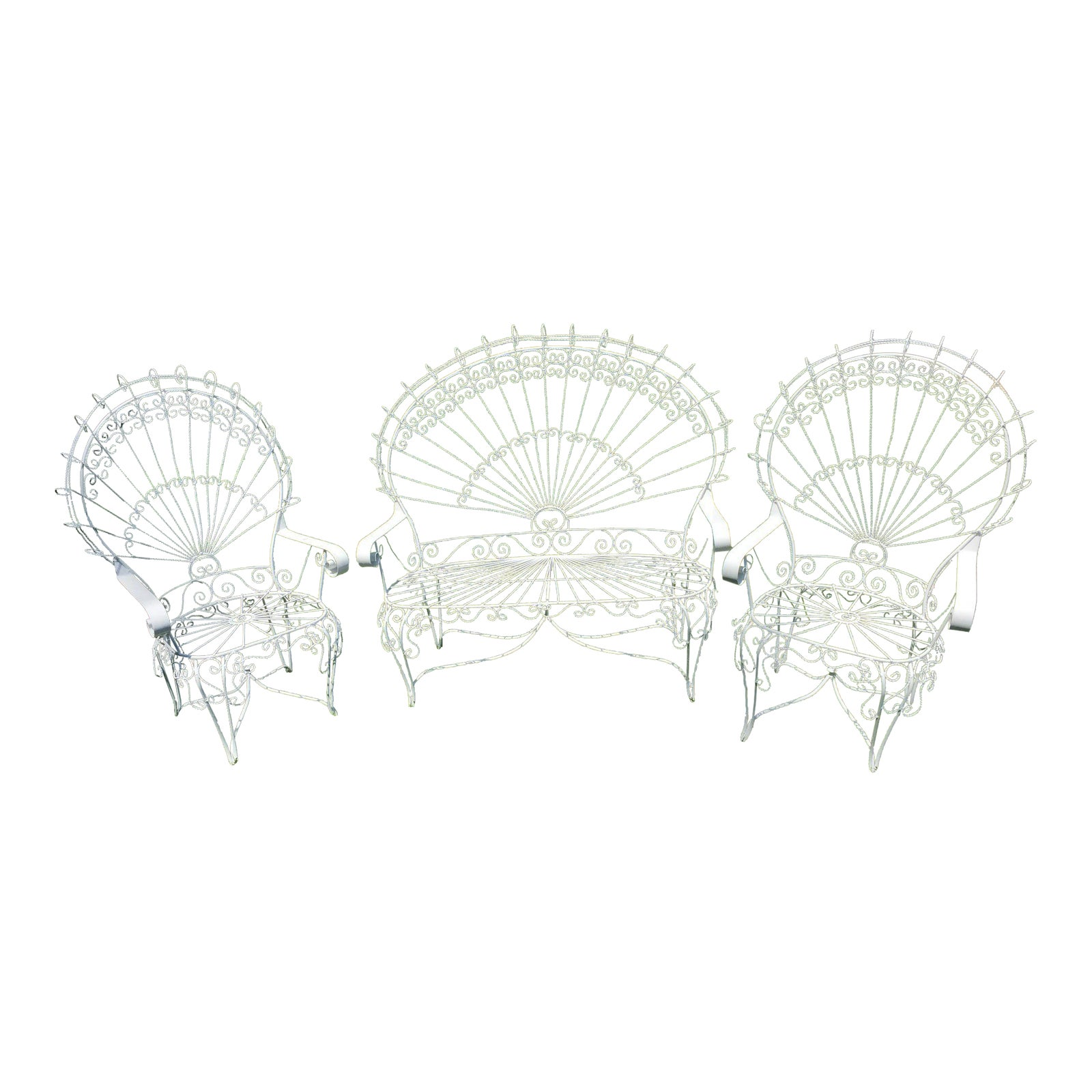 Vintage Wrought Iron Peacock Patio Chairs Set Of 3