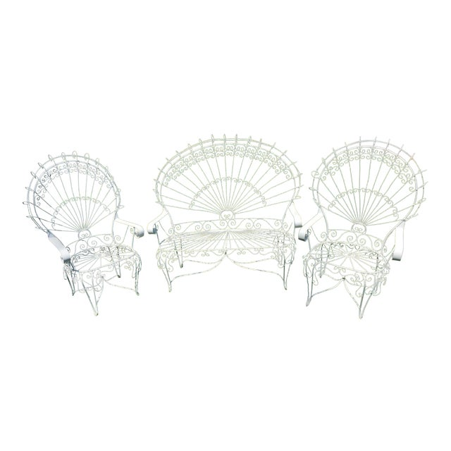 e95ec1b7f7108 Vintage Wrought Iron Peacock Patio Chairs - Set of 3 For Sale