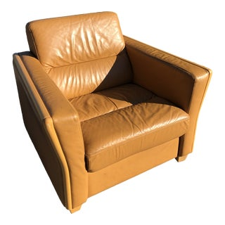 1970s Vintage Ekornes Danish Leather Lounge Chair For Sale