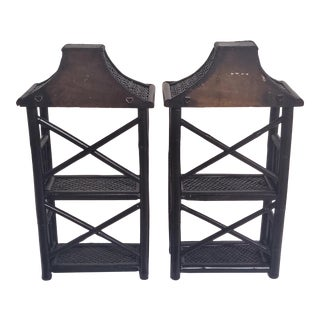 Vintage Chinoiserie Pagoda Wall Shelves in Lacquered Bamboo - a Pair For Sale