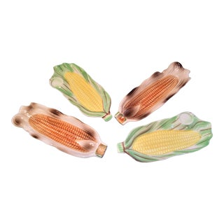 1950s Mix-Matched Majolica Corn Holders - Set of 4 For Sale