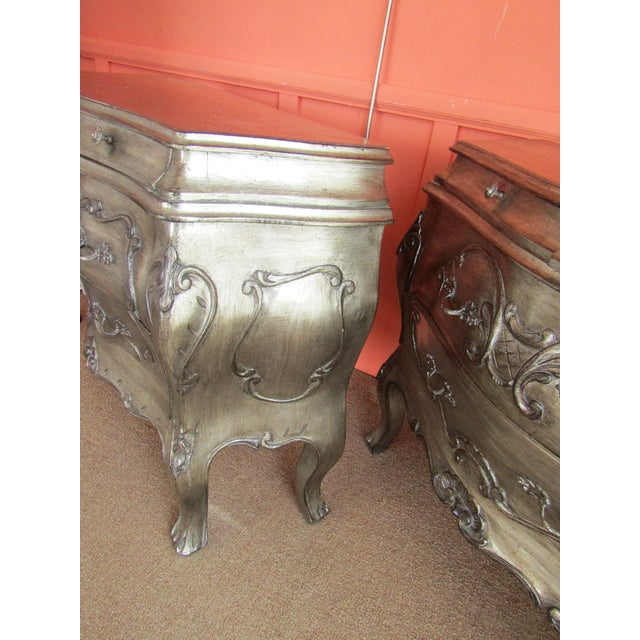 Bombay Style Nightstands, Side Tables in Antiqued Metalic Finish -- A Pair - Image 3 of 6