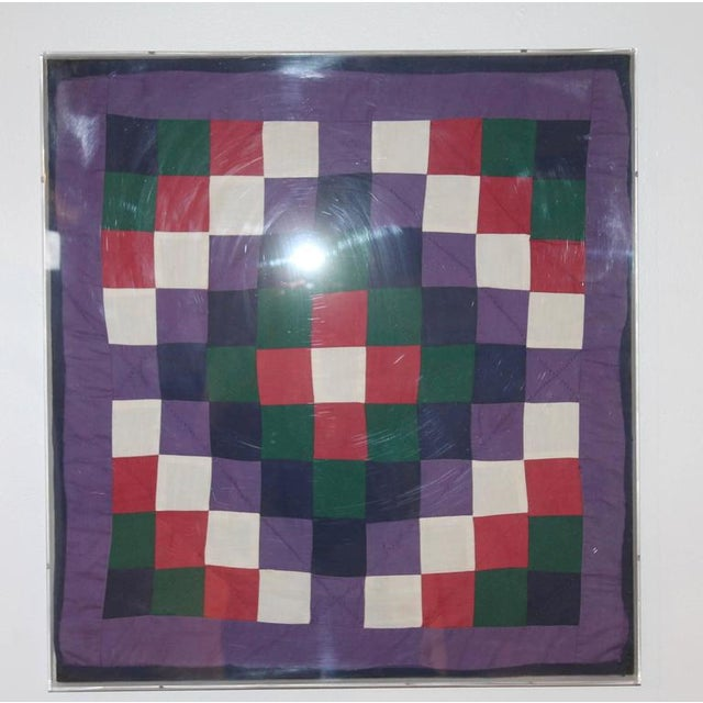 Glass Collection of Four Rare Pennsylvania Amish Doll Quilts For Sale - Image 7 of 8