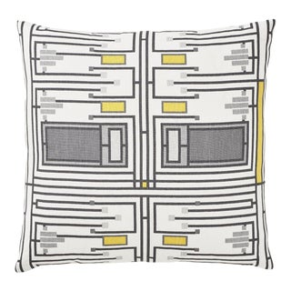 Schumacher Frank Lloyd Wright Design 105 Jumbo Checks Yellow 26 X 26 - Pair For Sale