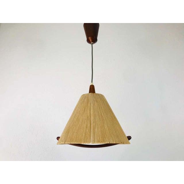 Brown Midcentury Teak and Rattan Hanging Lamp, circa 1970 For Sale - Image 8 of 12