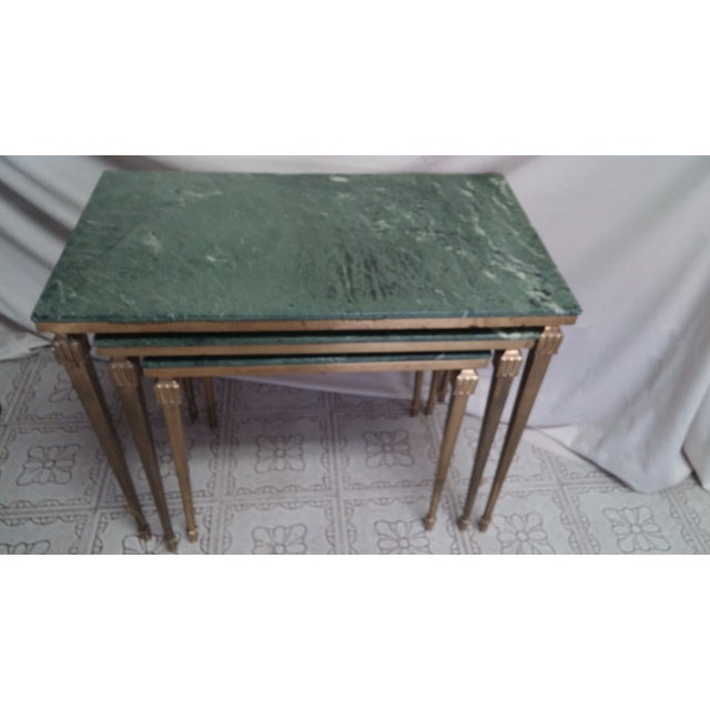 French Brass/Bronze Marble Top Nesting Tables- S/3 For Sale - Image 4 of 9