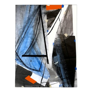 """""""Abstract Sails"""" Contemporary Nautical Mixed-Media Painting For Sale"""