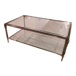 Rectangular Steel & Glass Two Tier Coffee Table For Sale