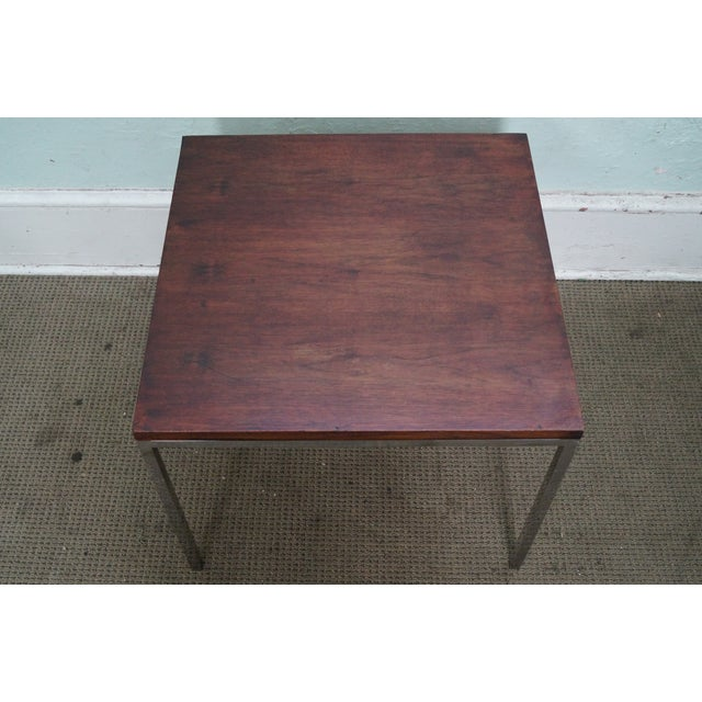 Mid-Century Square Chrome Rosewood Side Table - Image 9 of 10